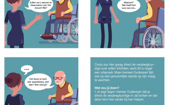 strip met verzorgende-ig en man in rolstoel